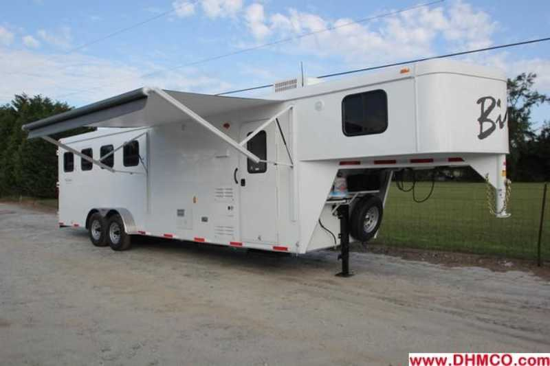#02588 - New 2013 Bison Trail Hand 7408 4 Horse Trailer with 8' Short Wall