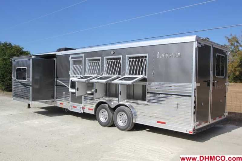 #87165 - New 2013 Lakota Charger 8415RKBGLQ 4 Horse Trailer  with 15' Short Wall