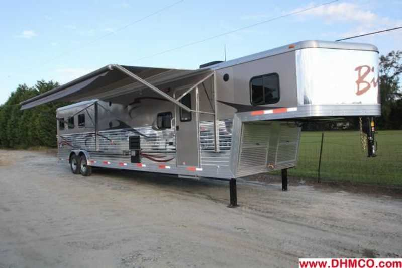 #02608 - New 2013 Bison Silverado 8316SS 3 Horse Trailer with 16' Short Wall