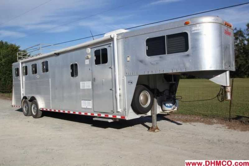 #00473 - Used 1995 Sooner 8480LQ 4 Horse Trailer with 8' Short Wall