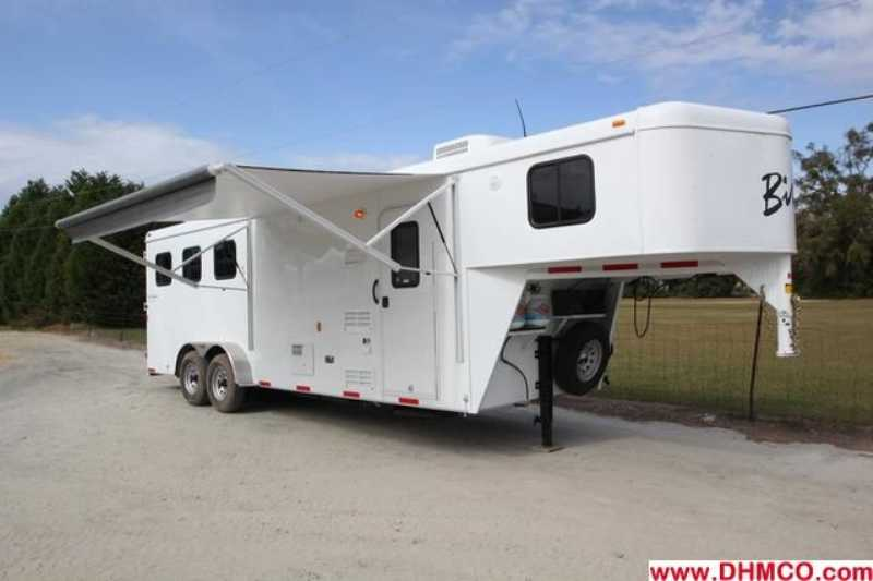 #02744 - New 2013 Bison Trail Hand 7308 3 Horse Trailer  with 8' Short Wall