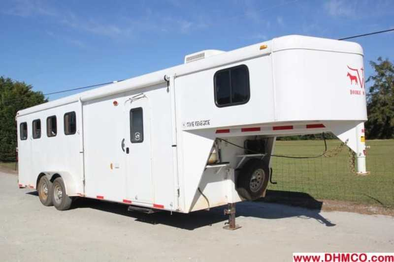 #01327 - Used 2012 Bison 7460LQ Dixie Renegade 4 Horse Trailer with 6' Short Wall