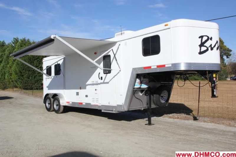 #02839 - New 2013 Bison Trail Boss 7208 2 Horse Trailer with 8' Short Wall