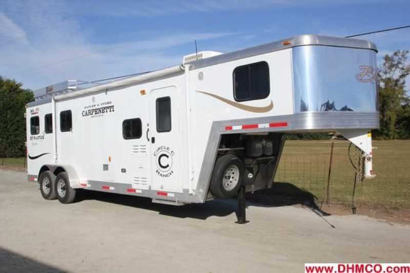 #0882s - Used 2011 Bison 7380LQ 3 Horse Trailer with 8' Short Wall