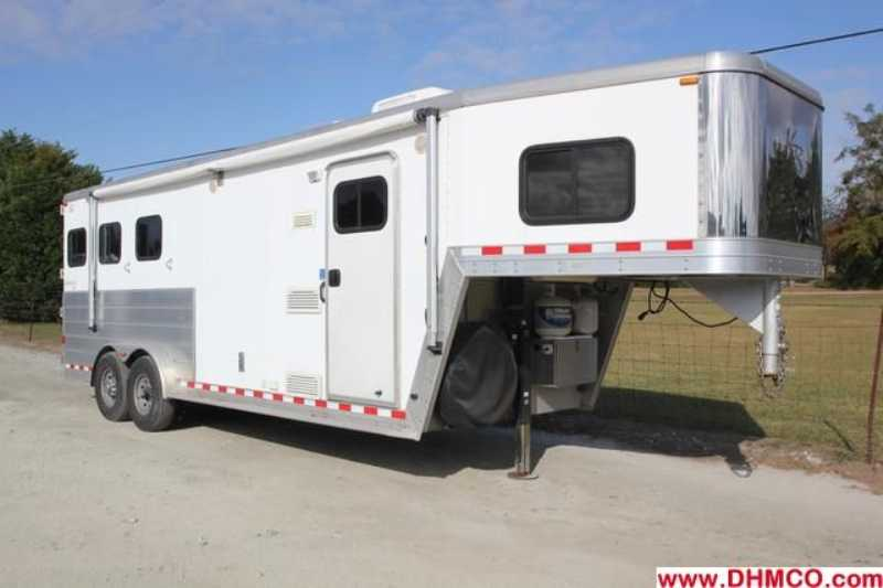 #47253 - Used 2004 Kiefer Built 7380LQ 3 Horse Trailer  with 8' Short Wall