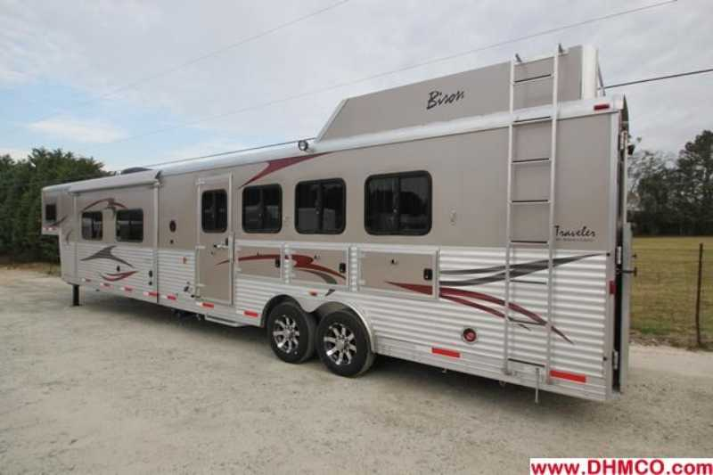 #03082 - New 2013 Bison Premiere 8417SSDSUG 4 Horse Trailer  with 17' Short Wall
