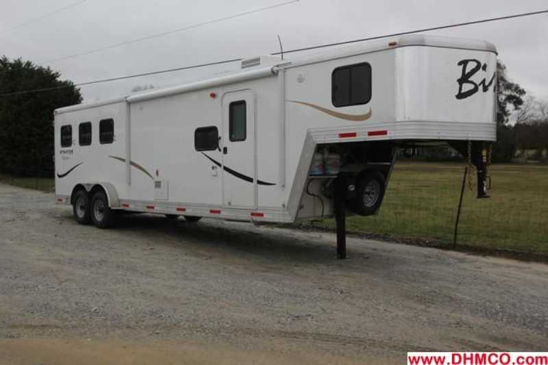 #02885 - New 2013 Bison Stratus Express 7310LQ 3 Horse Trailer with 10' Short Wall