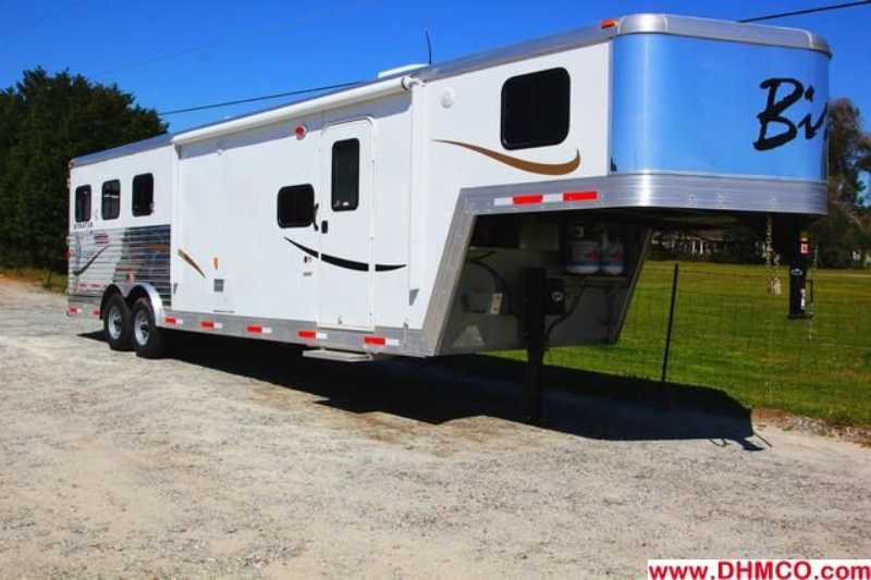 #02814 - New 2013 Bison Laredo 8310LQ 3 Horse Trailer with 10' Short Wall