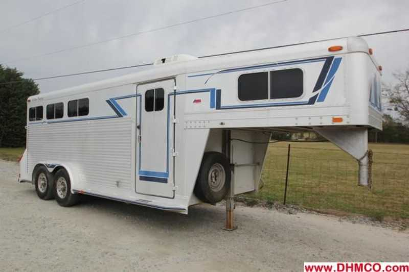 #13701 - Used 1991 4 Star 7340LQ 3 Horse Trailer with 4' Short Wall
