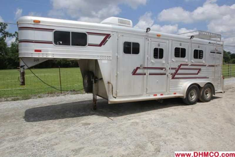 #75576 - Used 1997 Elite 7340LQ 3 Horse Trailer with 3' Short Wall
