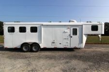 #03582 - New 2014 Bison Trail Hand 7380LQ 3 Horse Trailer  with 8' Short Wall