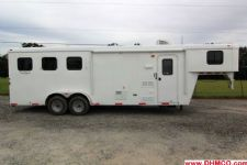 #03591 - New 2014 Bison Trail Hand 7380LQ 3 Horse Trailer  with 8' Short Wall