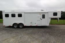 #03590 - New 2014 Bison Trail Hand 7380LQ 3 Horse Trailer  with 8' Short Wall