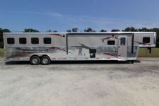 #03626 - New 2014 Bison Premier 8417GLQSD 4 Horse Trailer  with 17' Short Wall