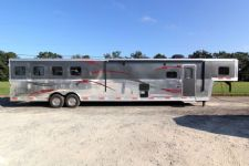 #03651 - New 2014 Bison Premier 8417GLQSD 4 Horse Trailer  with 17' Short Wall