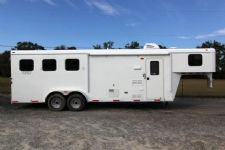 #03793 - New 2014 Bison Trail Hand 7380LQ 3 Horse Trailer  with 8' Short Wall