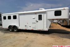 #03796 - New 2014 Bison Trail Hand 7380LQ 3 Horse Trailer  with 8' Short Wall