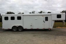 #03800 - New 2014 Bison Trail Hand 7310LQ 3 Horse Trailer  with 10' Short Wall