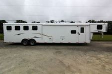 #03813 - New 2014 Bison 8414LQBK Dixie Ranch House 4 Horse Trailer  with 14' Short Wall
