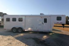 #03818 - New 2014 Bison Trail Boss 7380LQ 3 Horse Trailer  with 8' Short Wall