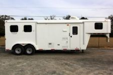#03837 - New 2014 Bison Trail Hand 7280LQ 2 Horse Trailer  with 8' Short Wall