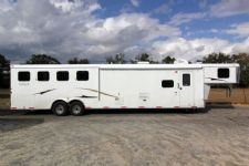 #03882 - New 2014 Bison Ranger 8414LQBK 4 Horse Trailer  with 14' Short Wall