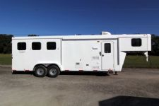 #03683 - New 2014 Bison Trail Hand 7380LQ 3 Horse Trailer  with 8' Short Wall