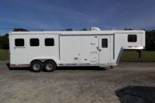 #03684 - New 2014 Bison Stratus LT 7380LQ 3 Horse Trailer  with 8' Short Wall