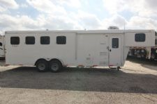 #03899 - New 2014 Bison Trail Hand 7460LQ S 4 Horse Trailer  with 6' Short Wall