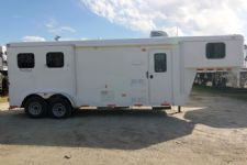 #03988 - New 2014 Bison Trail Hand 7280LQ 2 Horse Trailer  with 8' Short Wall