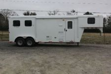 #03989 - New 2014 Bison Trail Hand 7280LQ 2 Horse Trailer  with 8' Short Wall