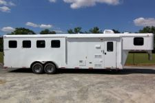 #03991 - New 2014 Bison Trail Hand 7480LQ 4 Horse Trailer  with 8' Short Wall