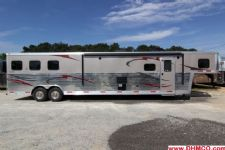#04019 - New 2014 Bison Premiere 8317GLQ 3 Horse Trailer  with 17' Short Wall
