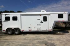 #04217 - New 2014 Bison Stratus LT 7280LQ 2 Horse Trailer  with 8' Short Wall