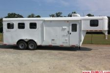 #04250 - New 2014 Bison Trail Hand 7360LQ S 3 Horse Trailer  with 6' Short Wall