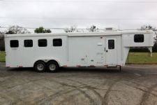 #02704 - Used 2013 Bison  4 Horse Trailer  with 8' Short Wall