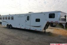 #09022 - Used 2007 Bison Stratus Express 8412LQ 4 Horse Trailer  with 12' Short Wall