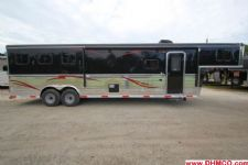 #04467 - New 2014 Bison Trail Express 8312GLQBar 3 Horse Trailer  with 12' Short Wall