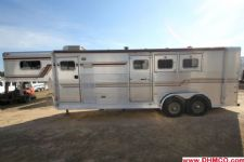 #22108 - Used 1995 Sundowner 7380LQ 3 Horse Trailer  with 8' Short Wall