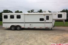#08879 - Used 2007 Bison 7310LQ Trail Express 3 Horse Trailer  with 10' Short Wall