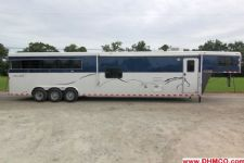#00254 - Used 2012 Harmar 8418BKGLQ 3 Horse Trailer  with 14' Short Wall