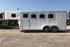 #00016 - Used 2002 Sooner 3HSL 3 Horse Trailer  with 4' Short Wall