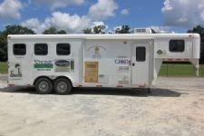 #02084 - Used 2012 Bison 7360LQ Dixie Renegade 3 Horse Trailer  with 6' Short Wall