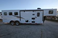 #04673 - New 2015 Bison Trail Hand 7380LQ 3 Horse Trailer  with 8' Short Wall