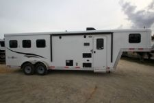 #04679 - New 2015 Bison Trail Boss 7380LQ 3 Horse Trailer  with 8' Short Wall