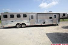 #03592 - Used 2014 Bison 8414GLQBKMT 4 Horse Trailer  with 14' Short Wall