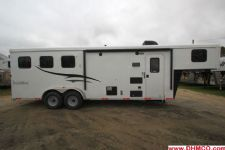 #04722 - New 2015 Bison Trail Hand 7380LQ 3 Horse Trailer  with 8' Short Wall