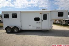 #08682 - Used 2007 Bison 7280LQ Trail Express 2 Horse Trailer  with 8' Short Wall