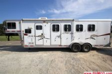 #87160 - Used 2008 Lakota 7407LQ Charger 4 Horse Trailer  with 7' Short Wall