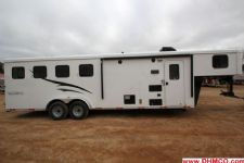 #04747 - New 2015 Bison Trail Hand 7480LQ 4 Horse Trailer  with 8' Short Wall